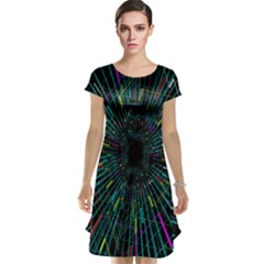 Colorful Geometric Electrical Line Block Grid Zooming Movement Cap Sleeve Nightdress