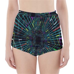 Colorful Geometric Electrical Line Block Grid Zooming Movement High Waisted Bikini Bottoms