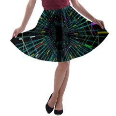 Colorful Geometric Electrical Line Block Grid Zooming Movement A Line Skater Skirt
