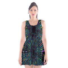 Colorful Geometric Electrical Line Block Grid Zooming Movement Scoop Neck Skater Dress