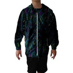 Colorful Geometric Electrical Line Block Grid Zooming Movement Hooded Wind Breaker (kids)