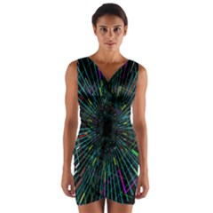 Colorful Geometric Electrical Line Block Grid Zooming Movement Wrap Front Bodycon Dress