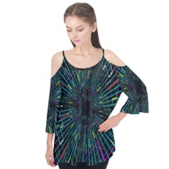 Colorful Geometric Electrical Line Block Grid Zooming Movement Flutter Tees