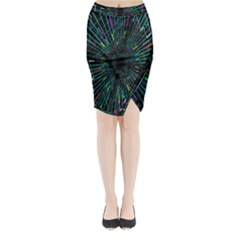 Colorful Geometric Electrical Line Block Grid Zooming Movement Midi Wrap Pencil Skirt