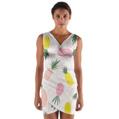 Pineapple Rainbow Fruite Pink Yellow Green Polka Dots Wrap Front Bodycon Dress