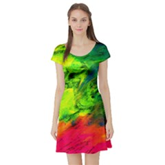 Neon Rainbow Green Pink Blue Red Painting Short Sleeve Skater Dress