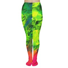 Neon Rainbow Green Pink Blue Red Painting Women s Tights