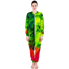 Neon Rainbow Green Pink Blue Red Painting Onepiece Jumpsuit (ladies)