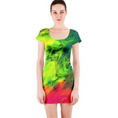 Neon Rainbow Green Pink Blue Red Painting Short Sleeve Bodycon Dress