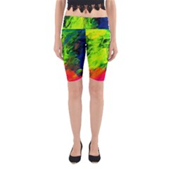 Neon Rainbow Green Pink Blue Red Painting Yoga Cropped Leggings