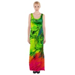 Neon Rainbow Green Pink Blue Red Painting Maxi Thigh Split Dress