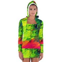 Neon Rainbow Green Pink Blue Red Painting Long Sleeve Hooded T Shirt