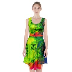 Neon Rainbow Green Pink Blue Red Painting Racerback Midi Dress