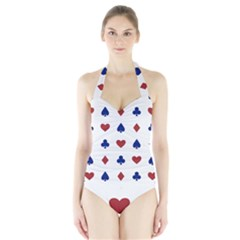 Playing Cards Hearts Diamonds Halter Swimsuit