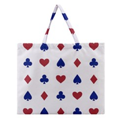 Playing Cards Hearts Diamonds Zipper Large Tote Bag