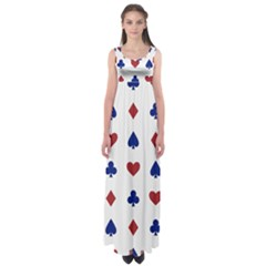 Playing Cards Hearts Diamonds Empire Waist Maxi Dress