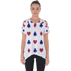 Playing Cards Hearts Diamonds Cut Out Side Drop Tee