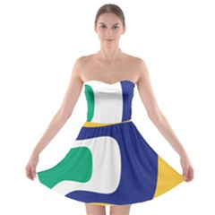 Rainbow Pink Yellow Bluw Green Rainbow Strapless Bra Top Dress