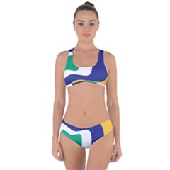 Rainbow Pink Yellow Bluw Green Rainbow Criss Cross Bikini Set