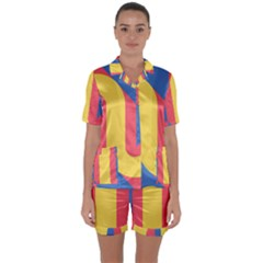 Rainbow Sign Yellow Red Blue Retro Satin Short Sleeve Pyjamas Set