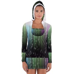 Numerical Animation Random Stripes Rainbow Space Long Sleeve Hooded T Shirt
