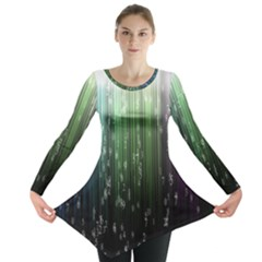 Numerical Animation Random Stripes Rainbow Space Long Sleeve Tunic