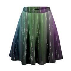 Numerical Animation Random Stripes Rainbow Space High Waist Skirt