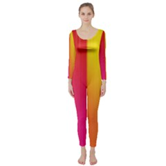 Rainbow Stripes Vertical Lines Colorful Blue Pink Orange Green Long Sleeve Catsuit