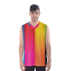 Rainbow Stripes Vertical Lines Colorful Blue Pink Orange Green Men s Basketball Tank Top