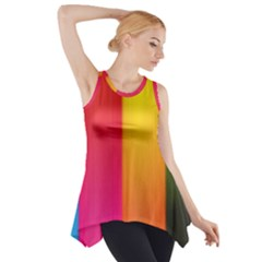 Rainbow Stripes Vertical Lines Colorful Blue Pink Orange Green Side Drop Tank Tunic