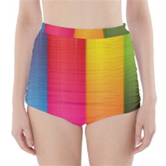 Rainbow Stripes Vertical Lines Colorful Blue Pink Orange Green High Waisted Bikini Bottoms