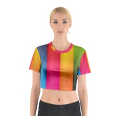 Rainbow Stripes Vertical Lines Colorful Blue Pink Orange Green Cotton Crop Top