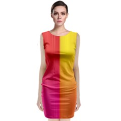 Rainbow Stripes Vertical Lines Colorful Blue Pink Orange Green Classic Sleeveless Midi Dress