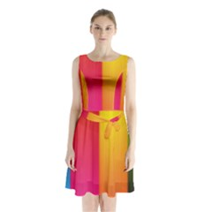 Rainbow Stripes Vertical Lines Colorful Blue Pink Orange Green Sleeveless Waist Tie Chiffon Dress