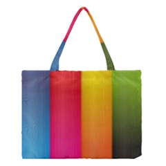 Rainbow Stripes Vertical Lines Colorful Blue Pink Orange Green Medium Tote Bag