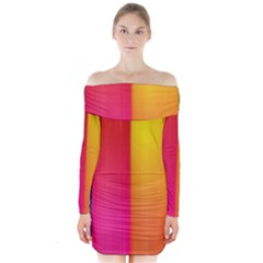 Rainbow Stripes Vertical Lines Colorful Blue Pink Orange Green Long Sleeve Off Shoulder Dress
