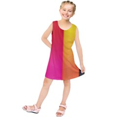 Rainbow Stripes Vertical Lines Colorful Blue Pink Orange Green Kids  Tunic Dress