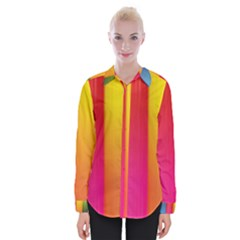 Rainbow Stripes Vertical Lines Colorful Blue Pink Orange Green Womens Long Sleeve Shirt