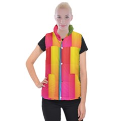 Rainbow Stripes Vertical Lines Colorful Blue Pink Orange Green Women s Button Up Puffer Vest