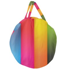 Rainbow Stripes Vertical Lines Colorful Blue Pink Orange Green Giant Round Zipper Tote
