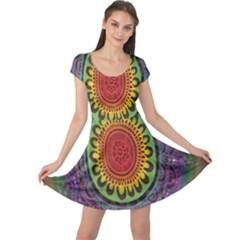 Rainbow Mandala Circle Cap Sleeve Dress