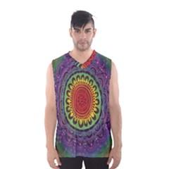 Rainbow Mandala Circle Men s Basketball Tank Top