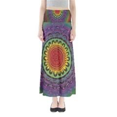 Rainbow Mandala Circle Full Length Maxi Skirt