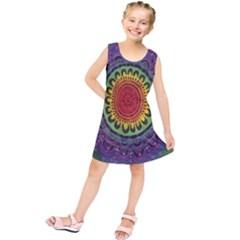 Rainbow Mandala Circle Kids  Tunic Dress