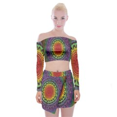 Rainbow Mandala Circle Off Shoulder Top With Skirt Set
