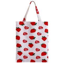 Red Fruit Strawberry Pattern Zipper Classic Tote Bag