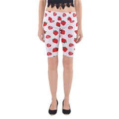 Red Fruit Strawberry Pattern Yoga Cropped Leggings