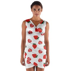 Red Fruit Strawberry Pattern Wrap Front Bodycon Dress
