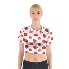 Red Fruit Strawberry Pattern Cotton Crop Top