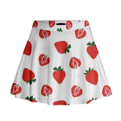 Red Fruit Strawberry Pattern Mini Flare Skirt